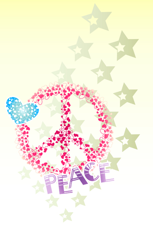 peace, heart, and star banner Vector