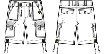 items: men fashion cargo shorts Illustration