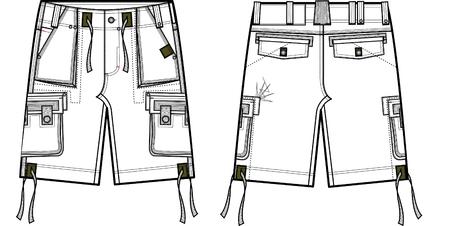 men fashion cargo shorts Illustration