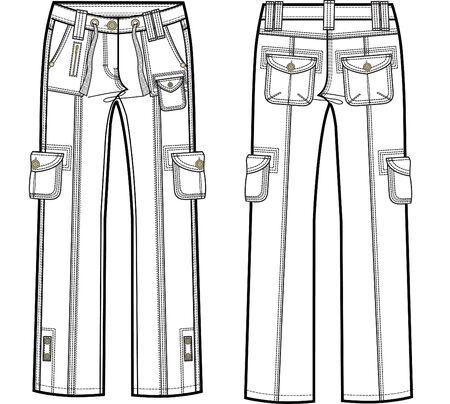 lady cargo pants Vector