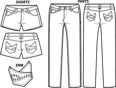 lady fashion pants and shorts set Vector