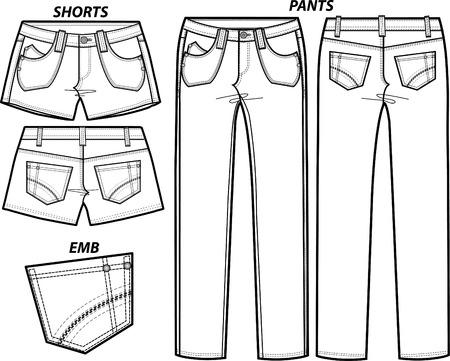 lady fashion pants and shorts set Stock Vector - 5422170