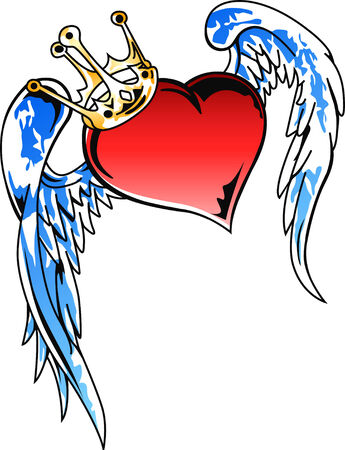 flying heart with crown illustration Illustration