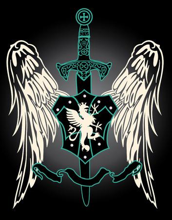 middeleeuwse vleugel met zwaard embleem