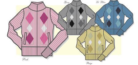 lady zip-up sweater Stock Vector - 5445079