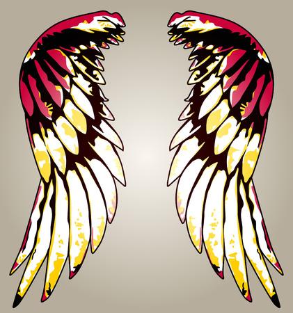 glimmende kleurrijke tribal vleugel