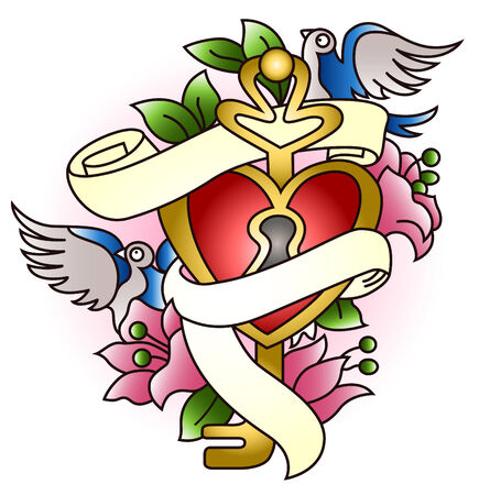gorgeous heart flower and swallow emblem Vector