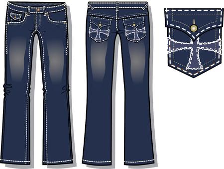 denim jeans: dama de la moda jeans de mezclilla con detalles de dise�o de bolsillo