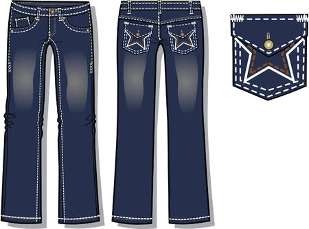 lady fashion denim jeans with pocket design details