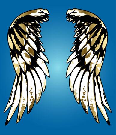 fancy eagle wing portrait illustration 向量圖像