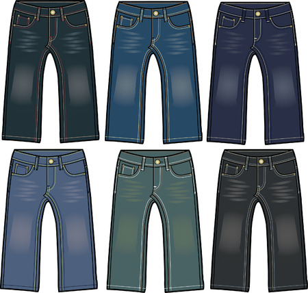 jongen denim jeans met verschillende wassen effect Vector Illustratie