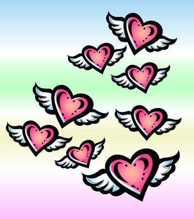 angel heart in the sky Vector