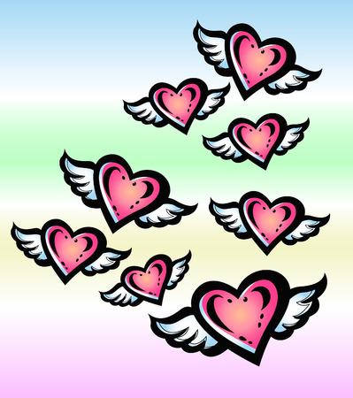 angel heart in the sky Vector