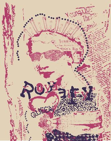 vintage rust woman newspaper style poster 向量圖像