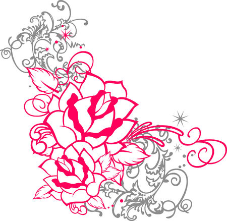 botany woman: rose portrait with scroll ornament