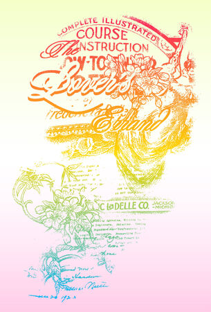 liane: fancy rainbow colour flores with writing texture Illustration