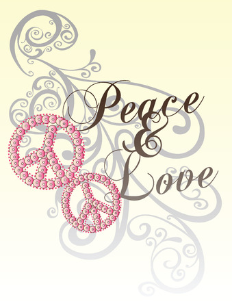 peace love with scroll pattern Vector