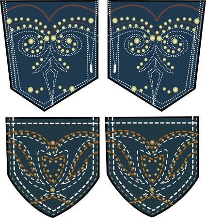 rhinestones and studs design on back pocket 向量圖像