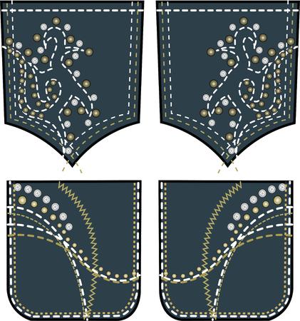 rhinestones and studs design on back pocket Vector