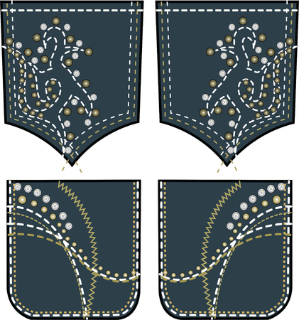 rhinestones and studs design on back pocket
