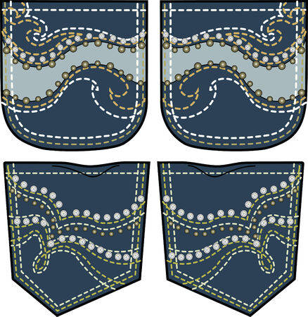 rhinestones and studs design on back pocket Vector