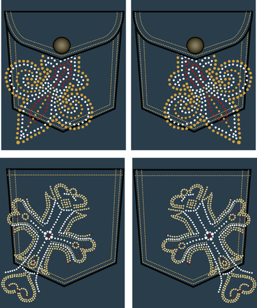 cross and royal stud design on back pocket Vector