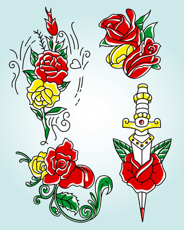 tribal rose in different style Vector