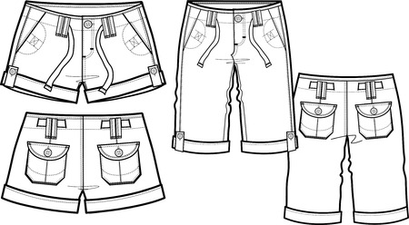 lady fashion shorts in 2 style Vector