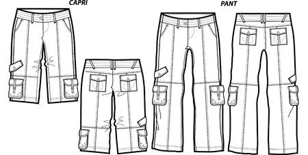 lady fashion cargo pants and shorts Illustration