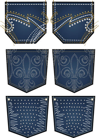 stone embroidery for back pocket Vector
