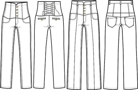 high waist denim jeans Stock Vector - 5509755