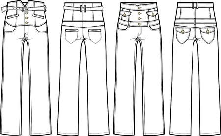 denim jeans: Los jeans con cintura alta Vectores