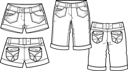 lady fashion shorts in 2 style Illustration