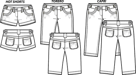 lady fashion shorts in 3 style Vector