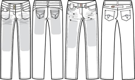 denim jeans: damas jeans de mezclilla (flaco corte) Vectores