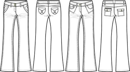 denim jeans: ladies denim jeans (skinny flare)  Illustration
