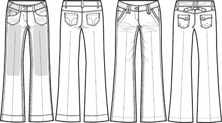 denim jeans: damas vaqueros de mezclilla (corte de la pierna ancha) Vectores