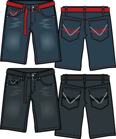boy denim jeans in different washing effect Vector