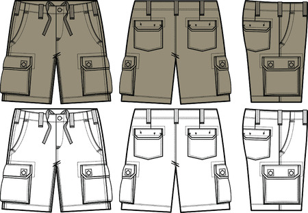 men cargo shorts in different side view Vector