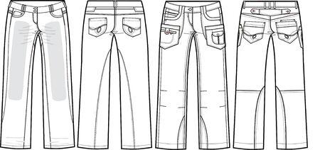 ladies denim jeans (boyfriend cut) Stock Vector - 5527433