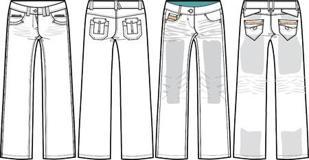ladies denim jeans (boyfriend cut)  Vector
