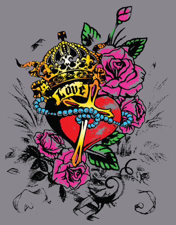 royal heart with flores decoration  Vector