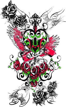 angel heart royal key emblem with roses Stock Vector - 5546146