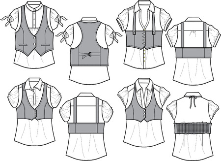 porfessional: lady blouse with bengaline vest Illustration