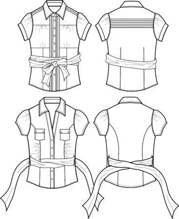 blusa: blusa de dama con detalles de cintas Vectores