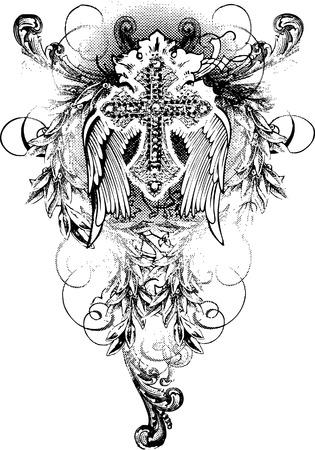 tribali: tribale croce con ali battenti e scorrere ornamento