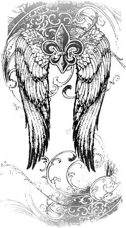 tribal kruis met vliegende vleugel en ga ornament