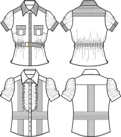 blusa: damas blusa con detalle Vectores