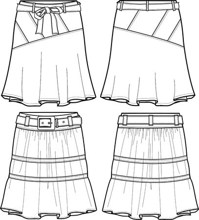 lady denim middle skirts Vector