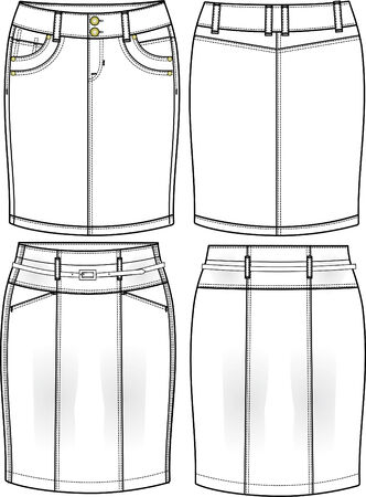 lady denim pencil skirts Vector